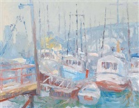 grey afternoon and fishing boats by orestes (rick) nicholas de grandmaison