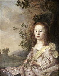 portrait of a young girl in a pink silk dress and a yellow sash, holding a laurel branch, seated before an open landscape by pieter nason