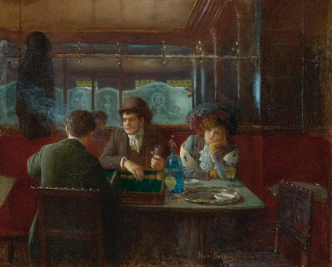 backgammon at the café by jean béraud