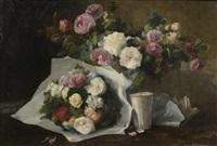 nature morte aux fleurs et à la timbale by joseph jubreaux