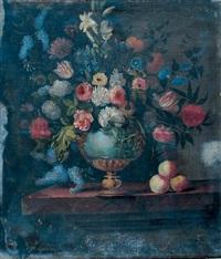 fleurs dans un vase en bronze sur un entablement by bernard picart