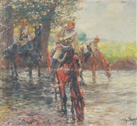 soldiers on horseback crossing a stream by theodor rocholl