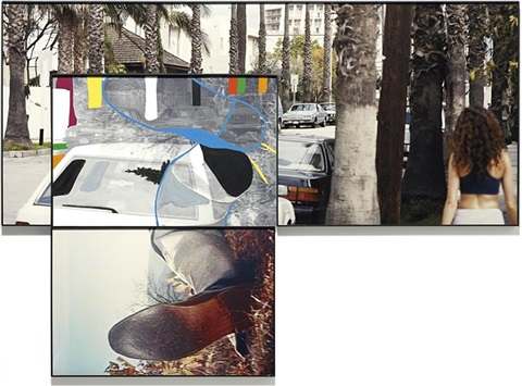 the overlap series street scene and reclining person with shoes by john baldessari