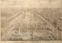 view of the construction of the pont-royal, paris by lievin cruyl