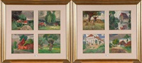 coins de village (series of 8 in 2 frames) by henri meuwis