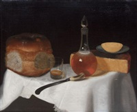 still life of bread and cheese with a glass by george smith of chichester