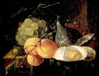 nature morte de fruits et d'huîtres by thomas mertens
