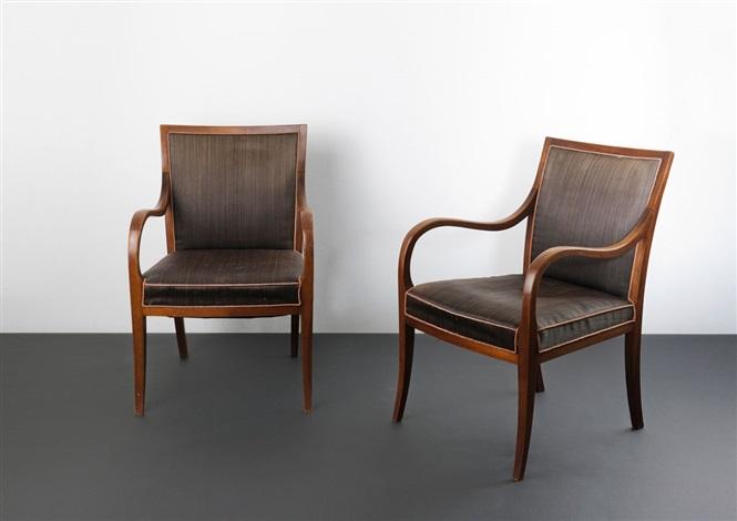zwei armlehnstühle pair by frits henningsen