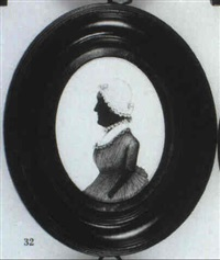 a lady in profile to the left, in dress with frilled border and bonnet edged with lace by charles buncombe
