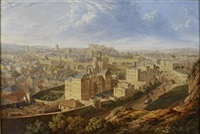 a view of edinburgh from calton hill (+ another, steel engraving, verso) by lieutenant colonel robert batty