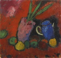 stilleben mit hyazinthe, blauem krug und äpfeln (still-life with hyacinths, blue jug and apples) by alexej jawlensky