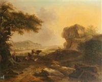troupeaux et bergers se reposant dans un paysage montagneux (+ troupeaux et bergers passant un gué; pair) by martin verstappen
