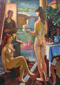 the painter with two models by gabor miklossy