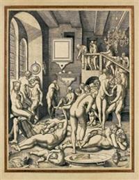un bain rempli d'hommes, de femmes et d'enfants - la société des anabaptistes (after h. aldegrever) by virgil solis