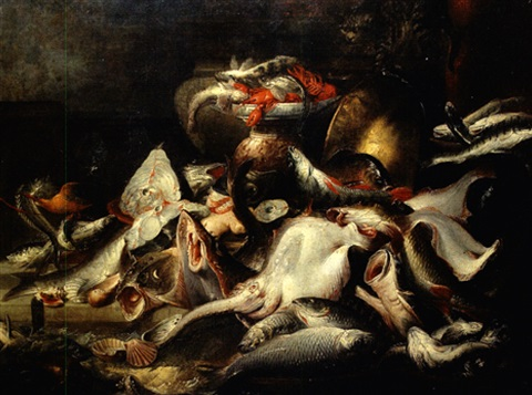 nature morte aux poissons et fruits de mer by elena recco