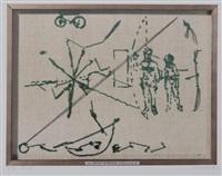 4 bll. offsetdrucke aus der mappe heiner blum - günther förg - georg herold by georg herold