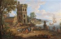 commerçants orientaux dans un port méditerranéen by mathys schoevaerdts