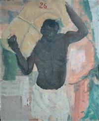 porteur africain - modèle blond de dos (recto-verso) by jean désiré bascoules