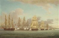 h.m.s. spartan engaging a french squadron in the bay of naples and capturing the brig sparvière, 3rd may 1810 by thomas whitcombe