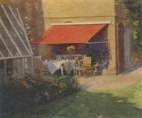 tea in the garden by hans sophus carl rasmussen