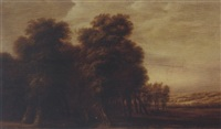 a wooded landscape with travellers on a path by jacob van geel