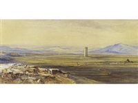 view of the roman campagna and the alexandrine aqueduct by edward lear