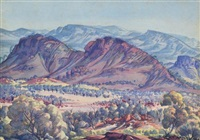 macdonnell ranges, near alice springs by albert namatjira