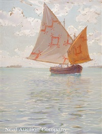 fishing boat on the venetian lagoon by walter launt palmer