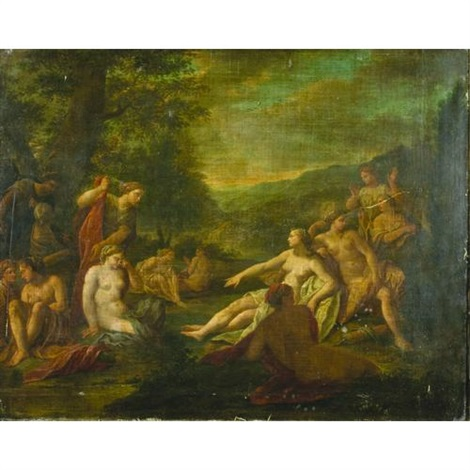 diana with attendant figures at her bath by noël nicolas coypel