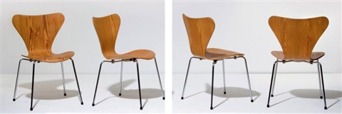 suite de quatre chaises série 7 set of 4 by arne jacobsen