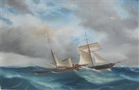 a steam yacht in a swell; s.y. jolaire sailing off the, neapolitan coast by antonio de simone