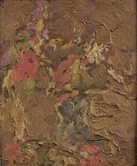 bouquet rouge dans un vase bleu by georges bouche