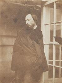 autoportrait en cape, dans l'embrasure de la porte de la serre de marine terrace. jersey. by auguste vacquerie