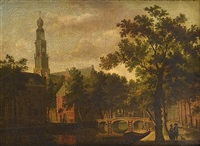 the westerkerk, amsterdam, with figures on a canal path with a horsedrawn carriage crossing a bridge beyond by paulus constantijn la (la fargue) fargue