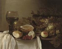 a roemer of wine, a pewter platter with a bread roll... by cornelis cruys