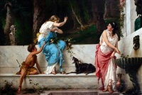classical maidens at a spring by luigi crosio