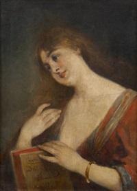 jeune femme à la lecture by cesare felix georges dell' acqua