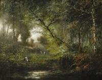 cigognes en forêt by henri langerock