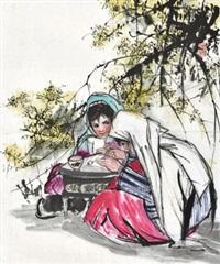 读书图 镜心 设色纸本 by huang zhou