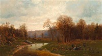 figures by a river in an autumnal landscape by jervis mcentee