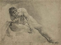 a reclining male nude, probably a study for narcissus by giovanni battista piazzetta