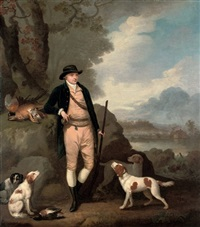 portrait of george farmer of witton manor, staffordshire with his dogs, in a landscape by moses haughton the elder