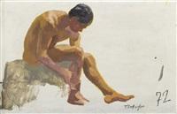 homme assis sur un rocher by yannis tsarouchis