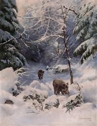 schwarzwild in winterlandschaft by arthur polzer-hoditz