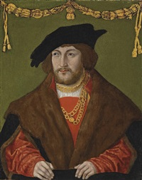portrait of a gentleman in a red doublet with a brown fur cloak, a gold chain and a black cap by hans wertinger