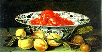 pfirsische und granatäpfel mit einer schale gefüllt mit erdbeeren by jacques linard