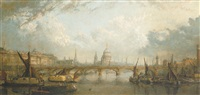 the river thames at london showing waterloo bridge, somerhouse and st paul's cathedral by john macvicar anderson