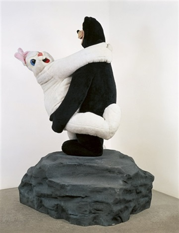 bear and rabbit on a rock by paul mccarthy