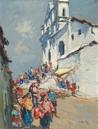 marché devant une église, guatemala by pierre bach