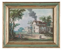paesaggio campestre; paesaggio fluviale con figure (2 works) by jean baptiste charles claudot